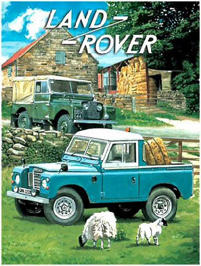 Land Rovers (2) with sheep metal sign   (og 3040)