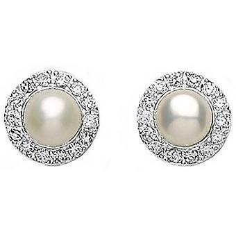 Bella Freshwater Pearl Cubic Zirconia Set Stud Earrings - Silver/Cream