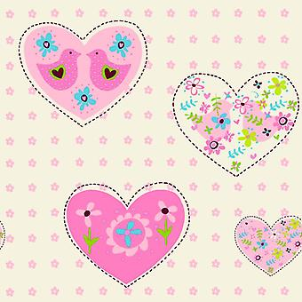 Debona Pink Amour Hearts Birds Girl Children's Playroom Bedroom Wallpaper