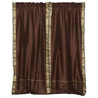 Brown Rod Pocket  Sheer Sari Curtain / Drape / Panel  - Piece
