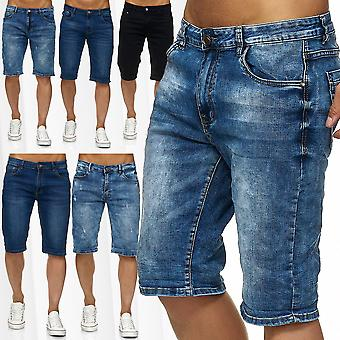 Men's Jeans Shorts 3/4 Stretch Bermuda Summer Pants Used Washed Trousers Slim