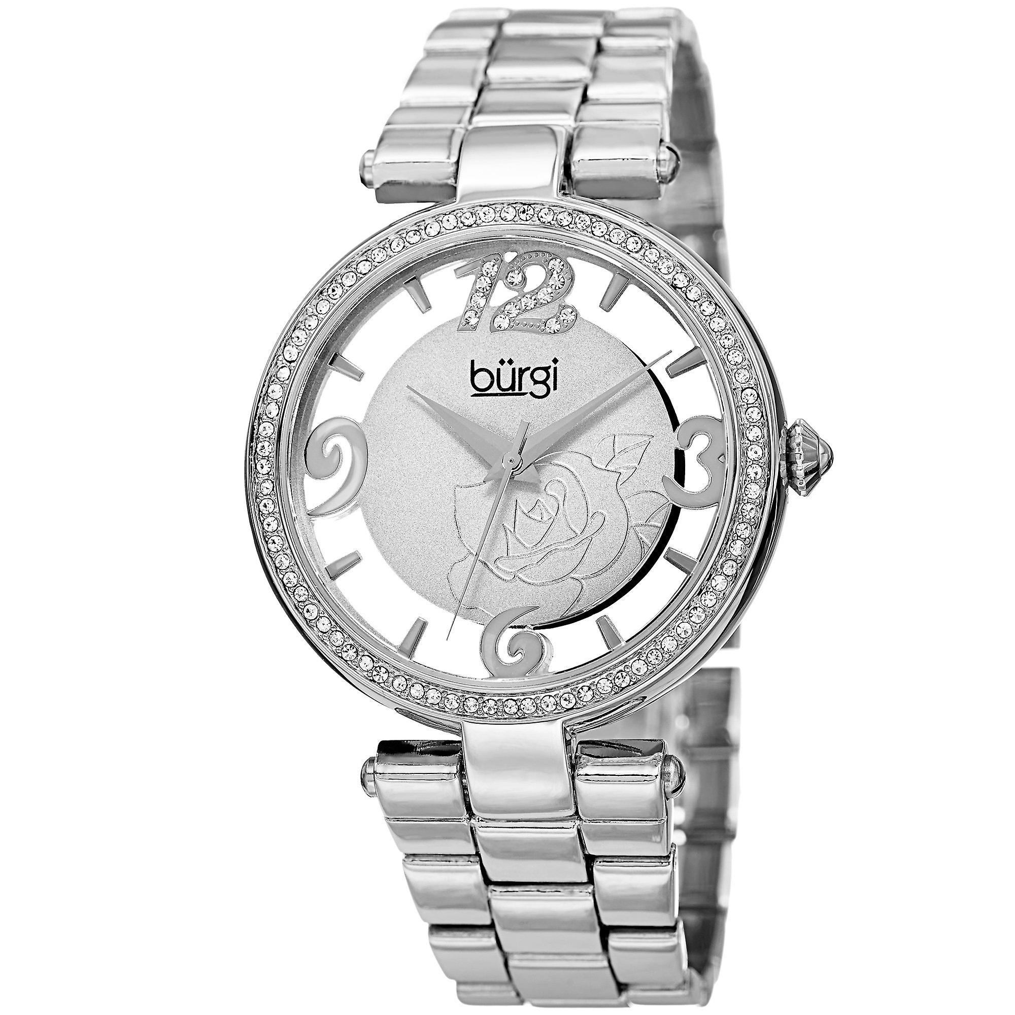 Burgi femmes&s Quartz Swarovski Crystal argent-Tone Bracelet Watch BUR148SS