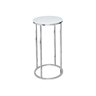 Gillmore Space White Glass And Silver Metal Contemporary Circular Lamp Table