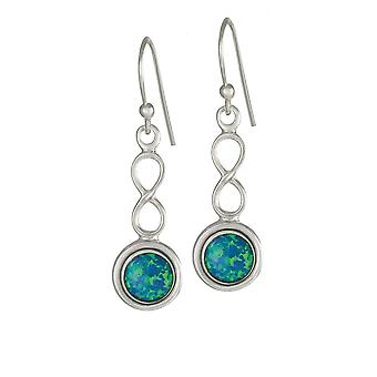 Eternal Collection October Blue Opal Birthstone Sterling Silver Drop Pierced Earrings