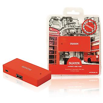 Sweex London 4 Port USB Hub - Red