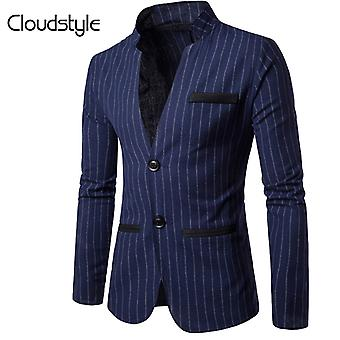 Allthemen Uomo Casual Striped Giacca Stand Slim Fit Outerwear