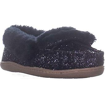 INC International Concepts Yasmina Faux-Fur Slippers Navy Glitter 9M