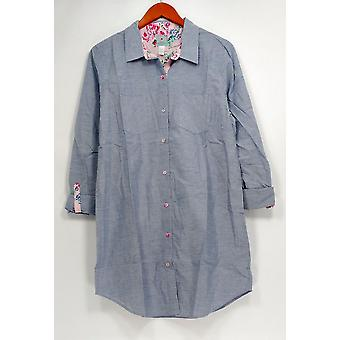Jane & Becker New York Women's Sleepshirt Button Down Blue A264419