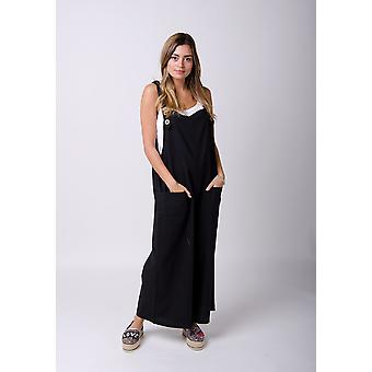 Saffy ladies lightweight loose fit linen dungarees black