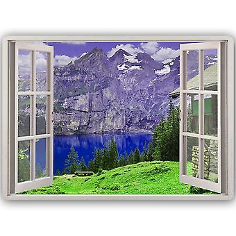 Metal Print, Window Mountains And Lake