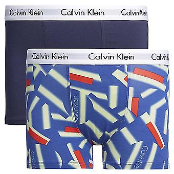 Calvin Klein Boys 2 Pack Modern Cotton Boxer Trunk, Blue Shadow / Kaleidoscope, Age 10-12