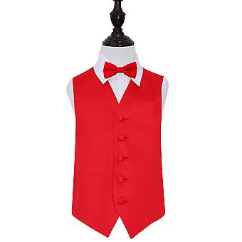 Boy's Red Plain Satin Wedding Waistcoat & Bow Tie Set
