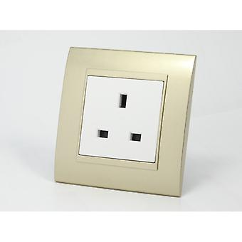 I LumoS AS Luxury Gold Plastic Arc Single Unswitched Wall Plug 13A UK Sockets