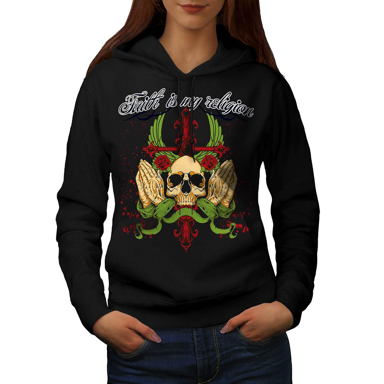 Religion Faith Prayer Dead Head Women Black Hoodie | Wellcoda