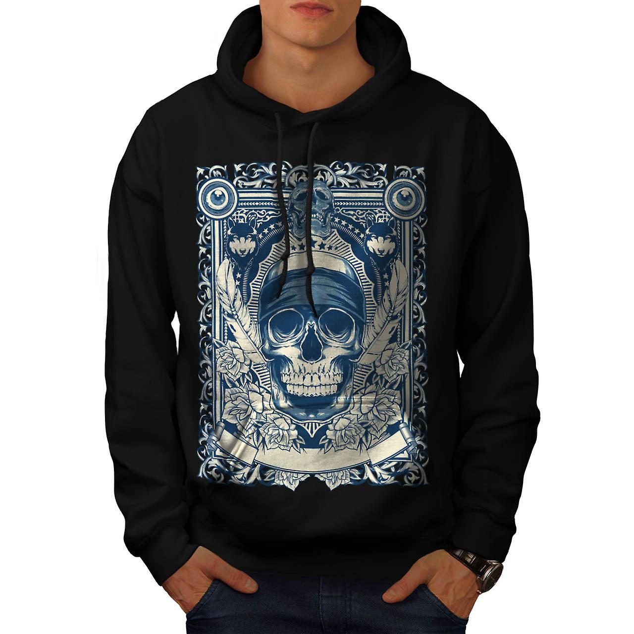 Skull Gangster Head Burial Card Men Black Hoodie | Wellcoda