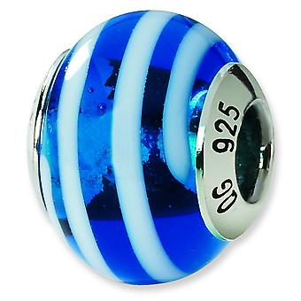 Sterling Silver Polished Antique finish Italian Murano Glass Reflections Blue White Italian Murano Bead Charm