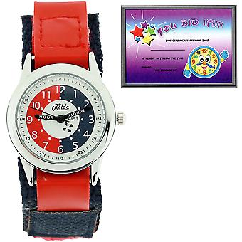 Relda Time Teacher Red / Navy Easy Fasten Children Boys Girls Kids Watch + Award