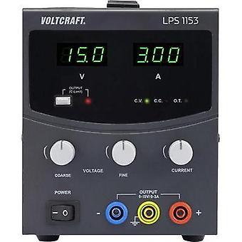 Bench PSU (adjustable voltage) VOLTCRAFT LPS1153 0 - 15 Vdc 0 - 3 A 45 W No. of outputs 1 x