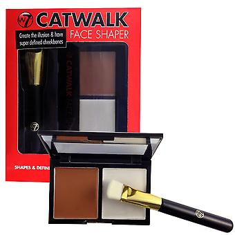 W7 Catwalk Face Shaper  With Bronzer, Highlighter & Face Shaper Brush