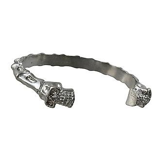 Polished Rhodium Plated Skulls and Bones Torc Bracelet Cuff