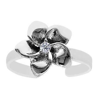 Sterling Silver Flower With CZ Cuff Style Adjustable Toe Ring