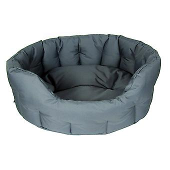 Country Dog Heavy Duty Waterproof Oval Drop Front Softee Bed Grey Size 6 97x74x25cm