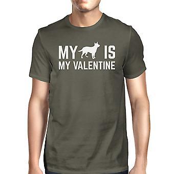Mijn hond mijn Valentijn mannen de donkere T-shirt Cotton Crew-Neck Shirt grijs