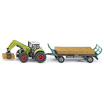 Siku Tractor With Bale Grab Trailer