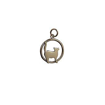 9ct Gold 16x18mm standing Cat looking to the right in a circle Pendant or Charm