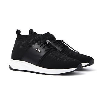 Karl Lagerfeld Black Knit & Leather Runner Trainers