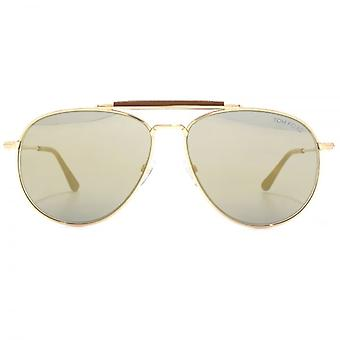 Lunettes de soleil Tom Ford Sean en or Rose brillant Gris miroir