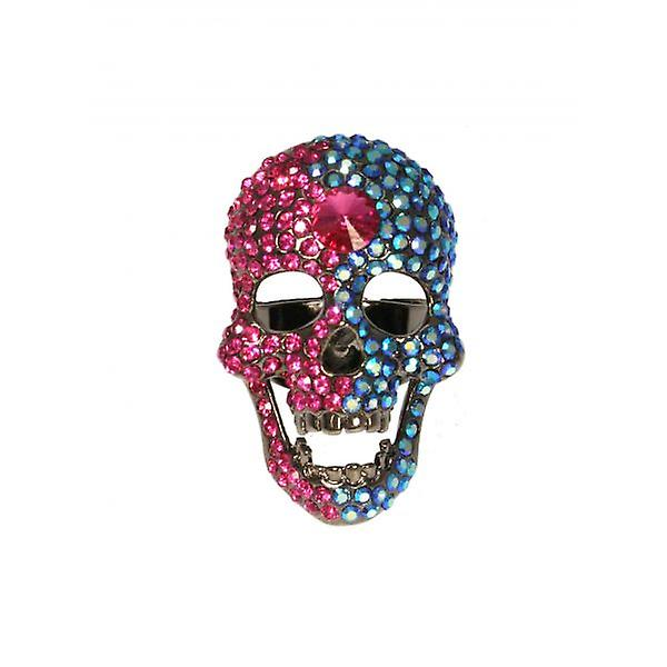 W.A.T Large Hot Pink & Blue Swarovski Crystal Skull Ring