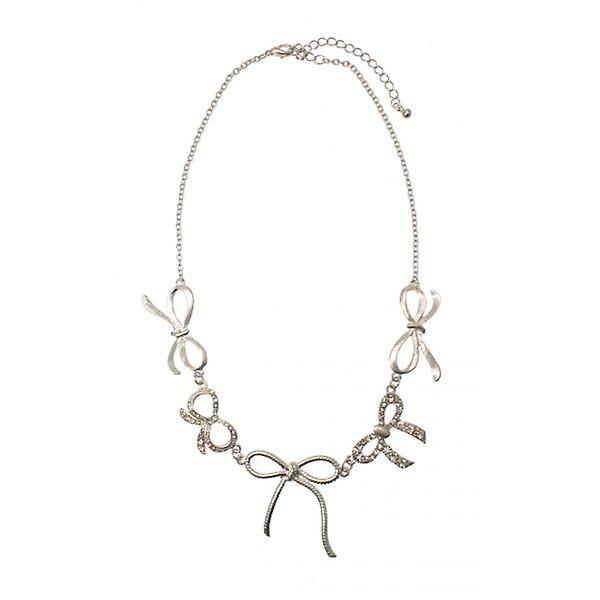 W.A.T Silver Style Crystal Bow Necklace