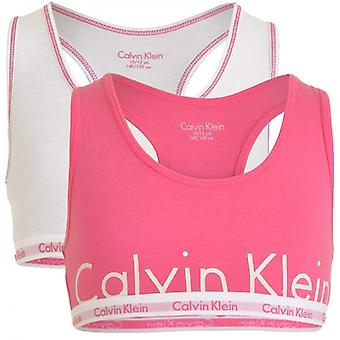 Calvin Klein Girls 2 Pack Modern Cotton Bralette, Bubble Gum Pink Logo / White, X-Large