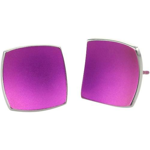 Ti2 Titanium Square Domed Stud Earrings - Candy Pink