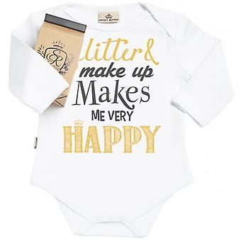Spoilt Rotten Glitter Makes Me Smile Organic Babygrow In Gift Milk Carton