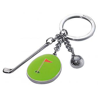 Troika Hole In One 3 Charm Key Ring - Green/Silver
