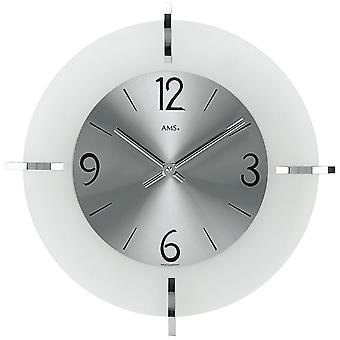 Wall clock quartz mineral crystal with chrome applications metal dial
