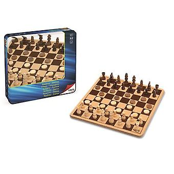 Cayro Wooden Chess-Checkers Metal Box (Speelgoed , Bordspellen , Tradities)