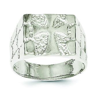 Sterling sølv Solid poleret Nugget Ring - ringstørrelse: 9-12