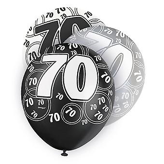 Unique Party 12 Inch 70th Birthday Black Balloons (Pack Of 5)