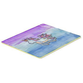 Carolines Treasures  BB7433CMT Blue Unicorn Watercolor Kitchen or Bath Mat 20x30