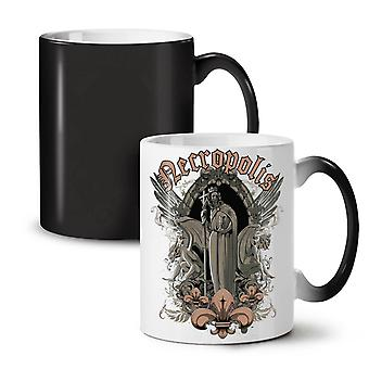 Necro Angel Skull Fantasy NEW Black Colour Changing Tea Coffee Ceramic Mug 11 oz | Wellcoda
