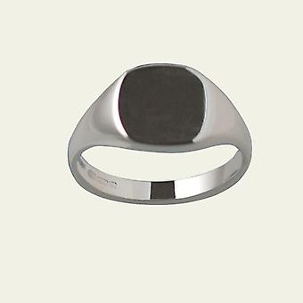Silver 13x13mm plain solid cushion Signet Ring Size W