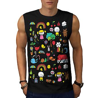 Cute Colorful Men BlackSleeveless T-shirt | Wellcoda