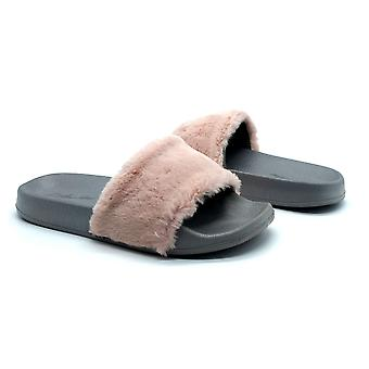 Atlantis Shoes Women Supportive Cushioned Comfortable Sandals Sliders Fluffy Chestnut Pink