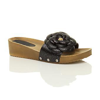 Ajvani womens midden hoge hak wig flatform platform glitter bloem glijden op muildieren sandalen schoenen