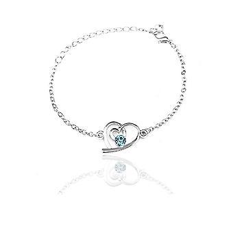 Sky Blue Womens Silver Love Heart Jewellery Bracelet BGCW52