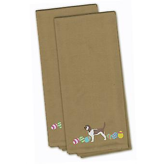 Grand Basset Griffon Easter Tan Embroidered Kitchen Towel Set of 2