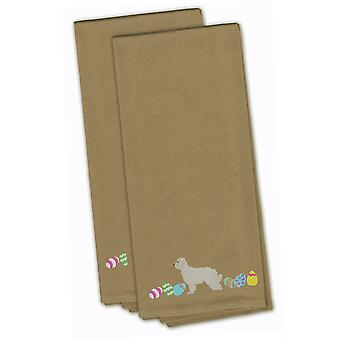 Great Pyrenees Easter Tan Embroidered Kitchen Towel Set of 2